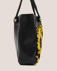 ALIMA-Nina-tote-bag-black-leather-and-vintage-fabric-side-2