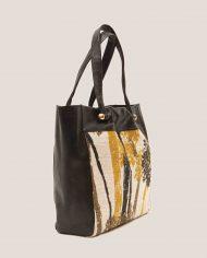 ARDORAGE-tote-bag-black-leather-and-vintage-fabric-side