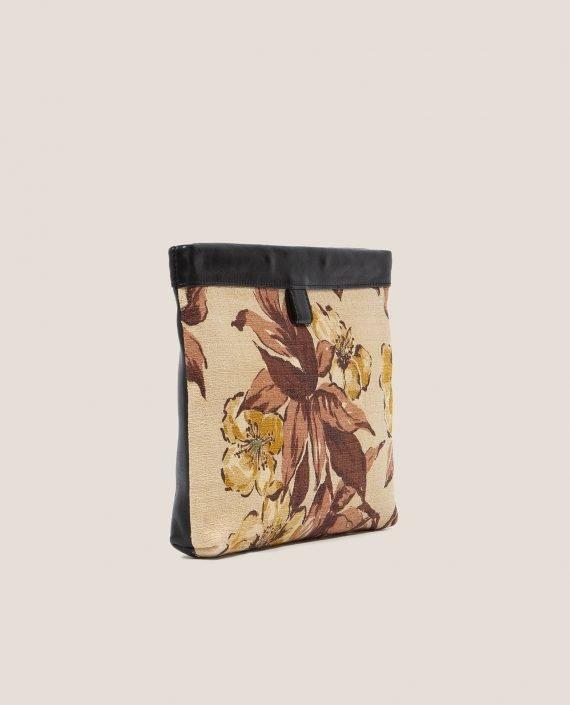 Clutch de Petty Things con piel color negro con tela vintage barkcloth Alana-lateral