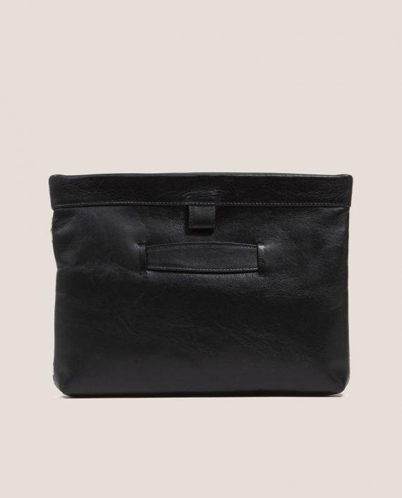 Clutch de Petty Things con piel color negro con tela vintage barkcloth Alana-trasera