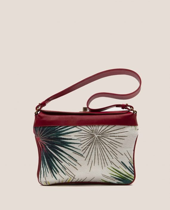 Bolso de mano de Petty Things color rojo con tela vintage barkcloth Fireworks, Chloe Fireworks