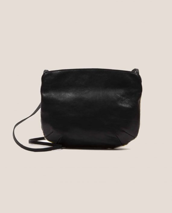 Black vegetable dyed leather back side from crossbody bag Debbie Peter Black (ref # DTPN-48-21) by Petty Things