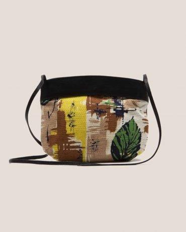 Bolso de asa larga de Petty Things hecho en cuero tintado vegetalmente color negro y tela vintage, Debbie Peter Negro