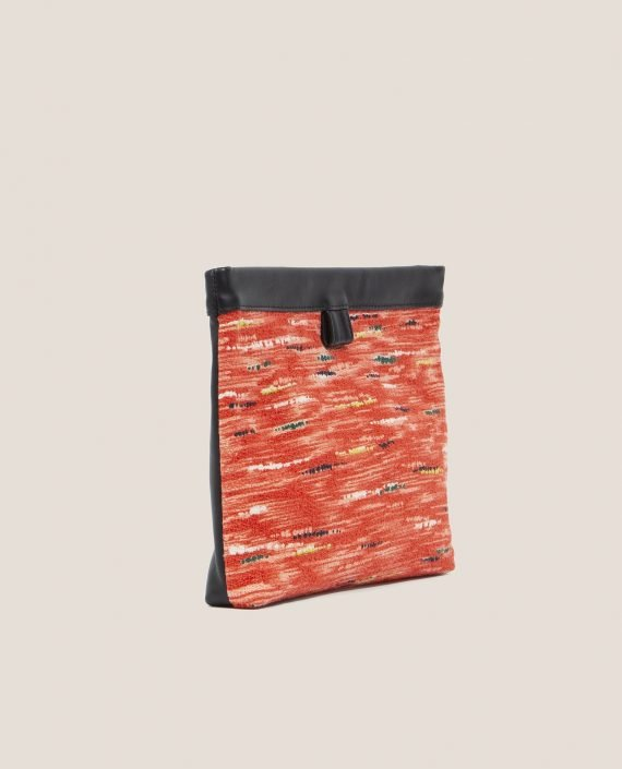 Clutch de Petty Things con piel color negro con tela vintage barkcloth Ginger-lateral