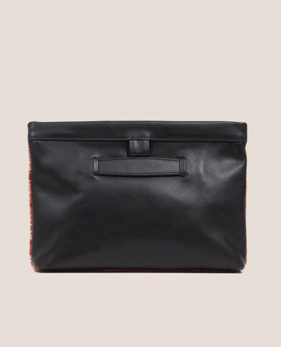 Clutch de Petty Things con piel color negro con tela vintage barkcloth Ginger-trasera