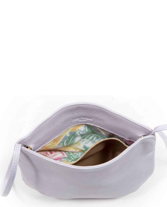 Detail vintage fabric interior bag in vegetable-dyed leather, Debbie color lilac (ref # DPL-17) by Petty Things