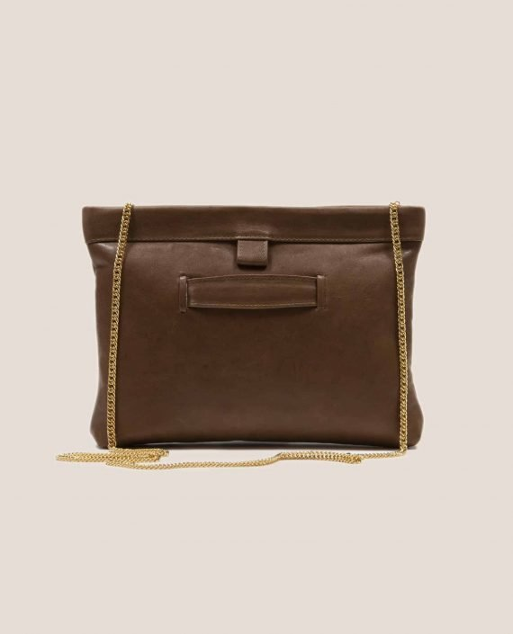 brown leather handbag back from model Marlen Toupe(ref # MPT-27) by Petty Things