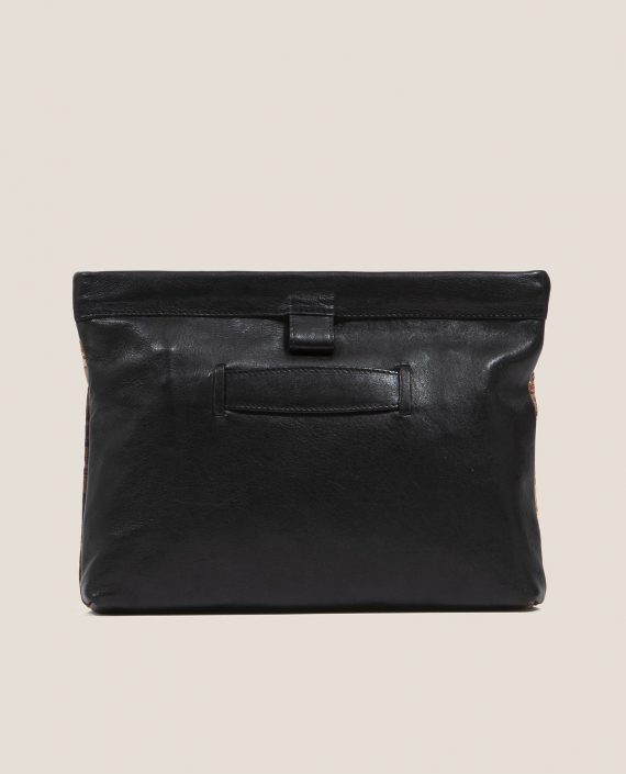 Clutch de Petty Things con piel color negro con tela vintage barkcloth Marmot-trasera