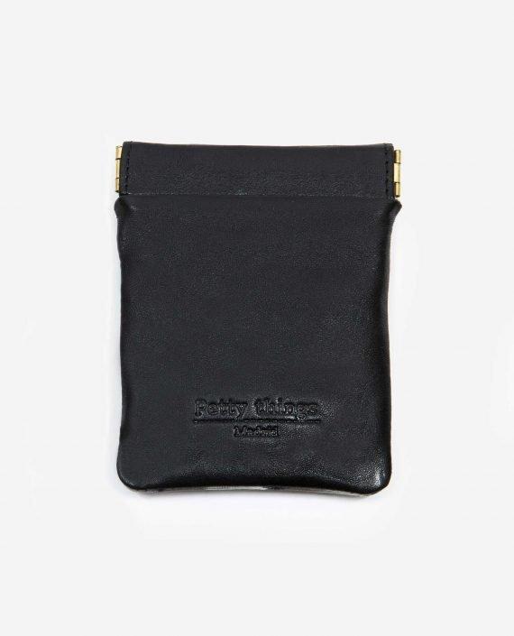 Monedero pequeño piel negra con estampado vintage - Petty Things
