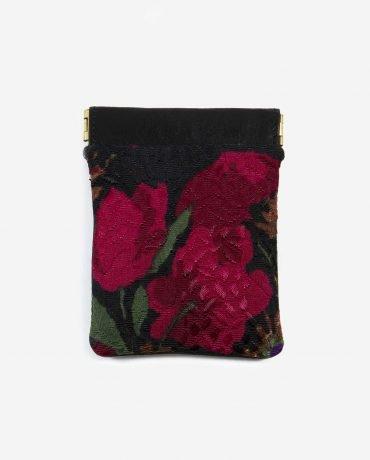 porta monedas pequeño de tela reusada y piel vegetal-TONI-delantera-pettythings