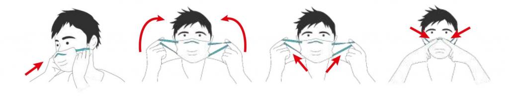 imagen de cómo ponerse una mascarilla de tela con filtro