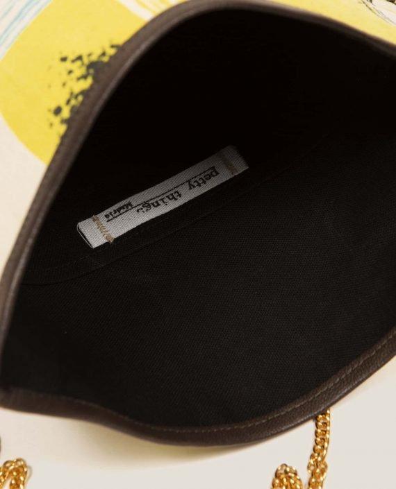 Detalle interior de bolso pequeño exclusivo hecho en tela vintage, Doris Lane (ref # DMT-20-45) de Petty Things