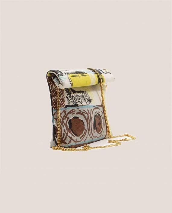 Vista lateral de Bolso pequeño de tela vintage barkcloth Lane (ref # DMT-20-45) de Petty Things