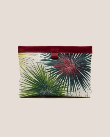 Petty Things Clutch black color with vintage fabric barkcloth Fireworks, Marlen Fireworks