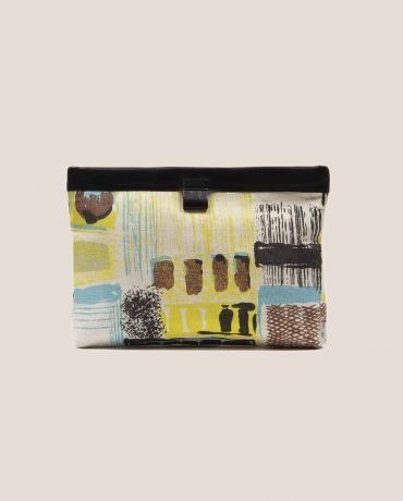 Clutch de Petty Things color negro con tela vintage barkcloth Lane, Marlen Lane