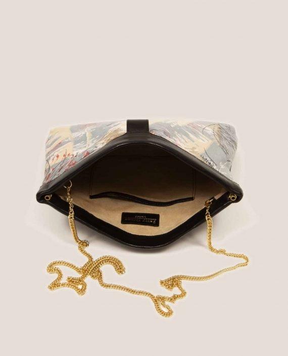 Detalle interior de bolso de mano en cuero con tinte vegetal, y tela vintage, Marlen Lex (ref # MTPN-25-37) de Petty Things