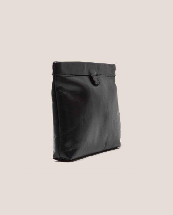 Clutch, handbag, Marlen black soft Napa (ref #MPN-28) Petty Things - side