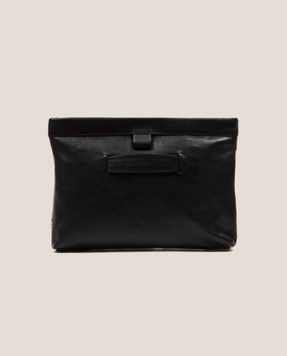 Black vegetable tanned leather handbag , back side, Marlen stars (ref # MTPN-15-46) by Petty Things