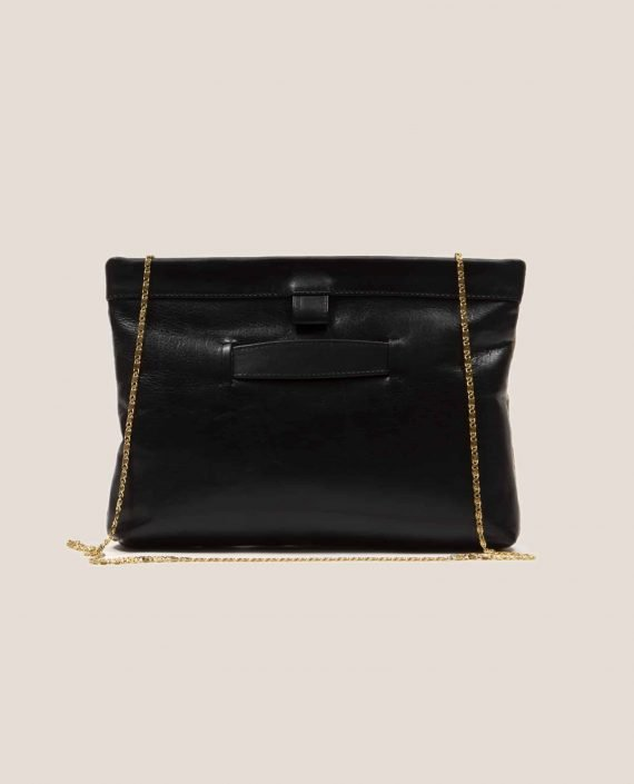 Black vegetable tanned leather handbag with chain , back side, Marlen stars (ref # MTPN-15-46) by Petty Things