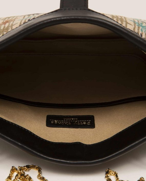Detail interior bag in vegetable-tanned leather and vintage fabric, Marlen stars (ref # MTPN-15-46) by Petty Things