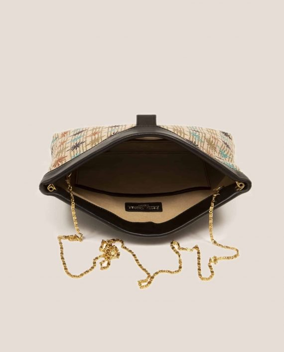 Interior bag in vegetable-tanned leather and vintage fabric, Marlen stars (ref # MTPN-15-46) by Petty Things