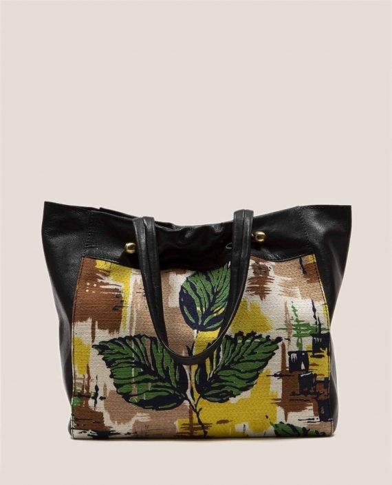 Bolso grande de cuero teñido vegetalmente color negro y tela vintage barkcloth Peter de Petty Things