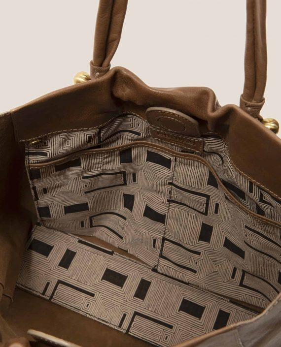Detail vintage fabric interior bag in vegetable-dyed leather, Nina Taupe (ref # NPC-41) by Petty Things