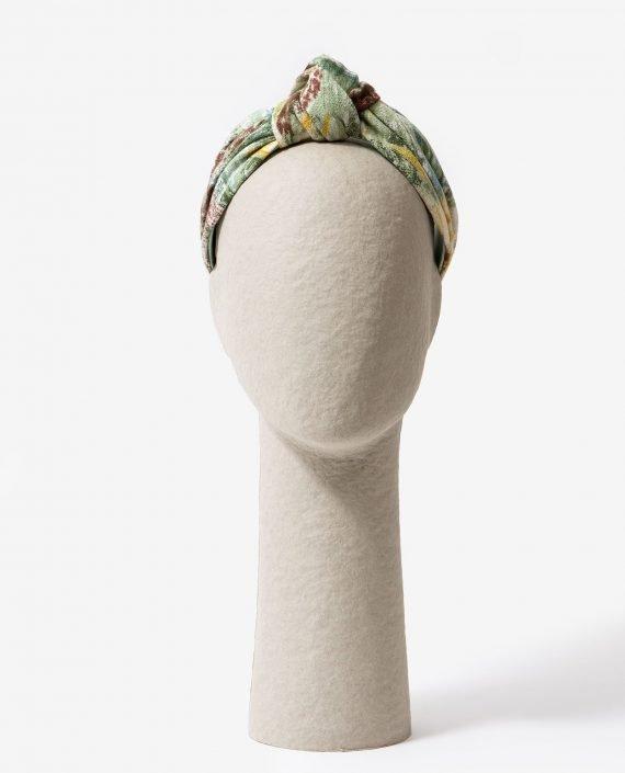 diadema de nudo estampado verde para fiesta