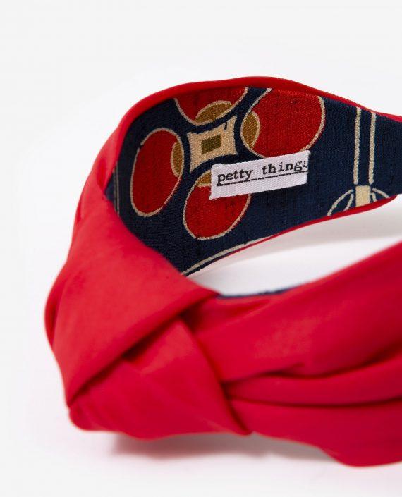 diadema de Petty Things-organza de seda roja-interior kimono de seda vintage-Romy-detalle1